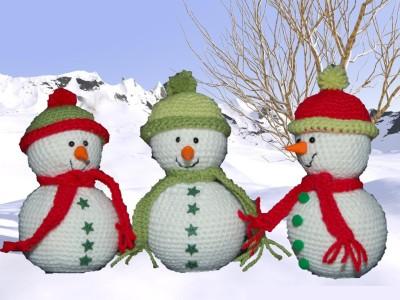 Nounours au crochet et bonshommes de neige pour no lla - Bonhomme de neige au crochet ...